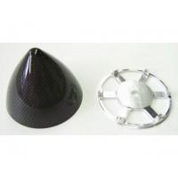 MEJZLIK - Ogiva F3A in carbonio con piattello in alluminio lavorato al CNC - diametro: 75mm - lunghezza: 57mm - peso: 24g