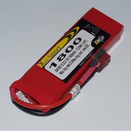 Lipo Xell-Sport 7.4V 1800MAH 2S 30C DEANS