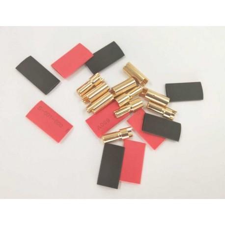 MAXPRO - CONNETTORI SPINOTTI GOLD 5,5mm (5MASCHI+5FEMMINE+TERMORESTRINGENTE)