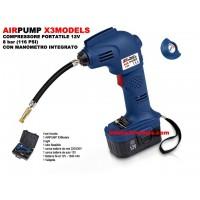 AIRPUMP X3MODELS - COMPRESSORE PORTATILE 12V 8 bar (116 PSI) CON MANOMETRO INTEGRATO - BATTERIA NiCd 1300 mAh, CARICABATTERIE 22